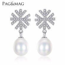 PAG & MAG Marca 100% 925 Sterling Silver Romântico Presente Do Floco De Neve Brincos de Pérolas Acessórios de Jóias de Casamento Para As Meninas