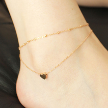 Top Quality 18KGP Rose Mini Heart Double-layer Anklet Fashion Women's Titanium Steel Jewelry Free Shipping (GA060)