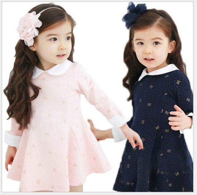 Осень/Зимнее платье для девочек утепленные девушки теплый хлопок платье трапециевидной формы дети милые платье для принцессы с воротником мини платье школьная детская одежда