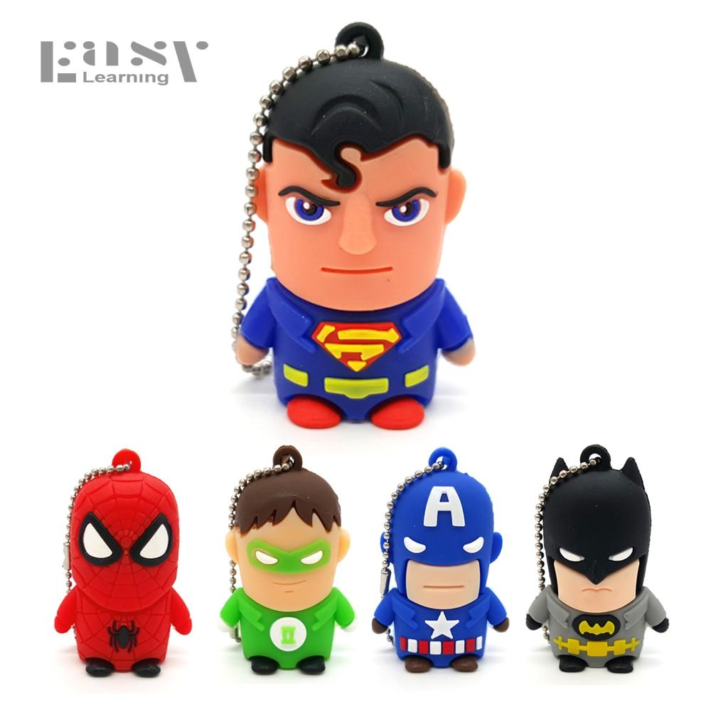 Easy Learning Cartoon Usb Flash Drive Minion Supeman Spiderman U Disk Memory Pen Drive Stick 8GB
