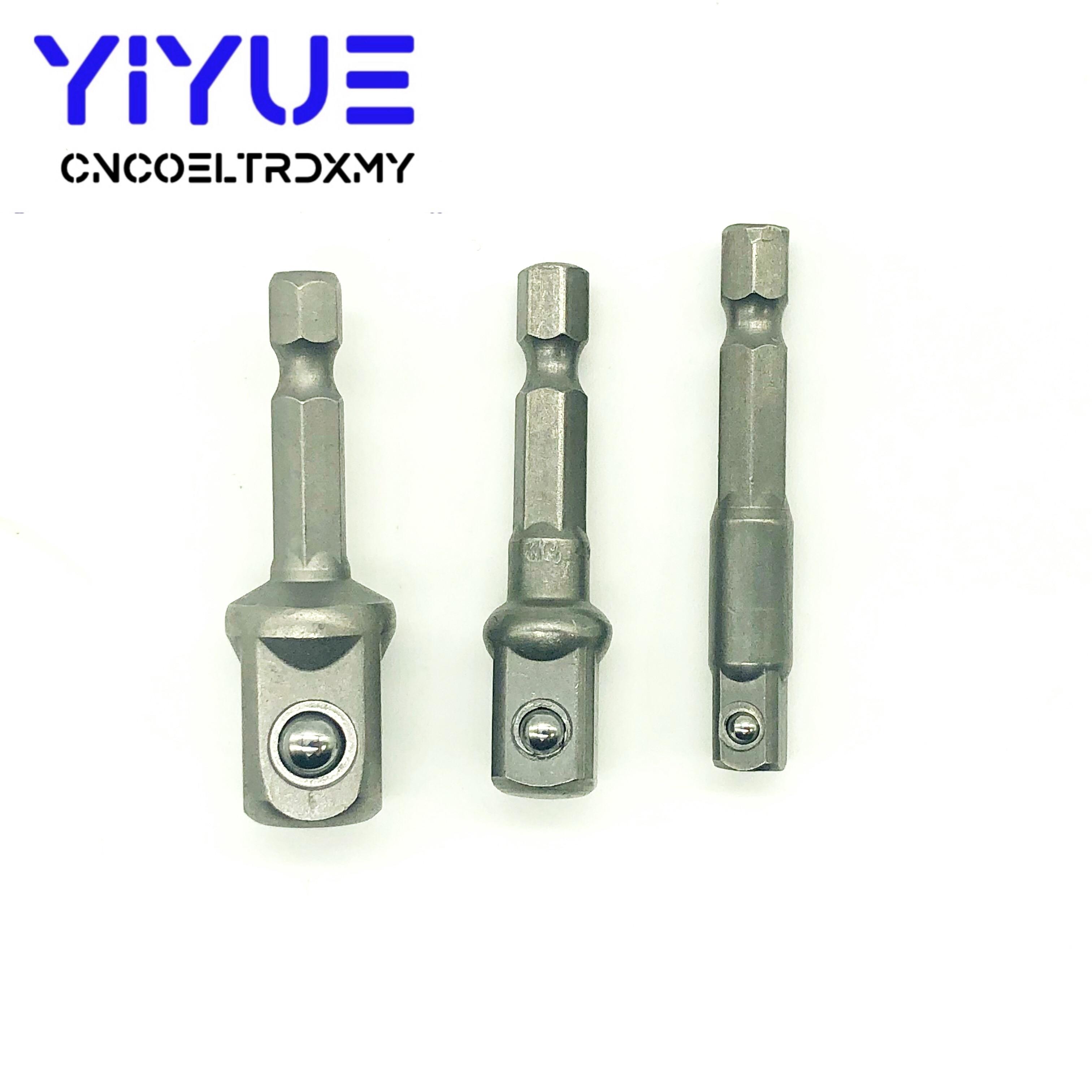 3pcs/set Chrome Vanadium Steel Socket Adapter Hex Shank To Square Extension Drill Bits Bar Hex Bit Set Tools Tightly