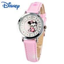 Disney бренда детская наручные часы Девушка Микки Мультфильм 30 м водонепроницаемый кварцевые часы Кожа смотреть дети Алмаз