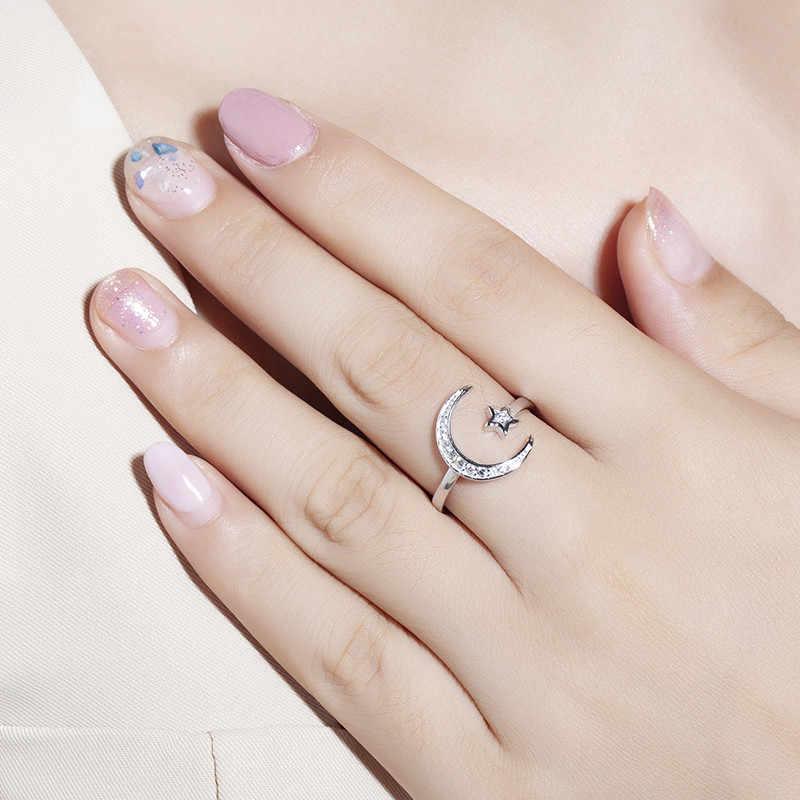 100% стерлингового серебра 925 пробы открытый Луна Звезда кольца delicalte минимальное для девочек женщин Рождественский подарок милое серебро, изменяемое циркониевое кольцо ювелирные изделия