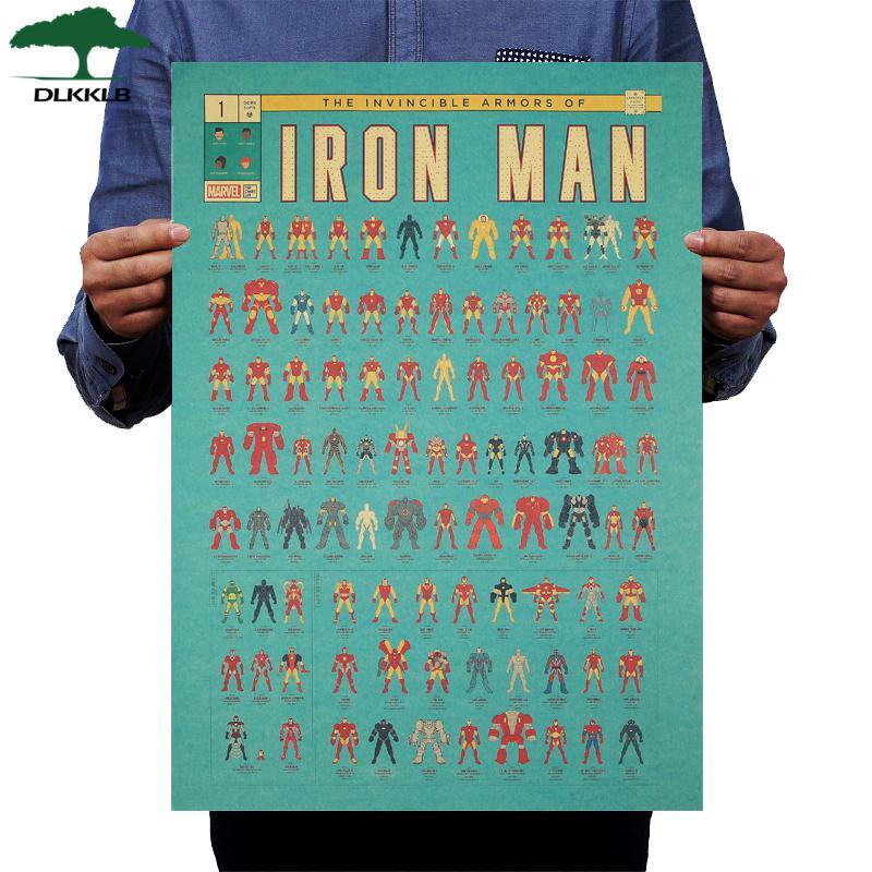 DLKKLB Marvel постер фильмов в стиле винтаж Мстители Коллекция 51,5X36 см войны стены стикеры кафе дома супер герой украшения живопись - Цвет: 51.5x36cm