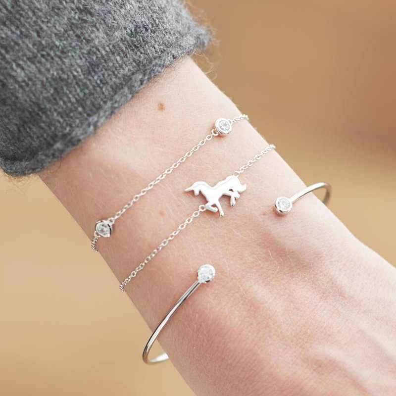 Trendy Accessories Simple Alloy Crystal God Silver Multi-layer Unicorn 3 Pieces Set Open Bracelets For Women Jewelry Bangle Gift