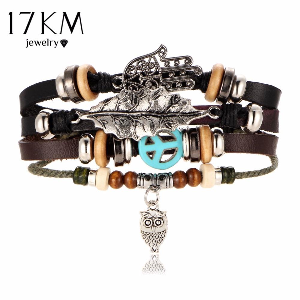 17KM Hamsa Hand Armbanden Voor Vrouwen Mannen 2017 Fashion Polsbandje Vrouwelijke Uil Lederen Armband Bladeren Vintage Punk Turkse Sieraden