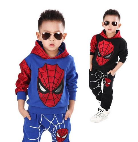 CaGiPlay kids spiderman cosplay clothing sets children costume fashion cartoon summer shirt  pants boys tees pants suit