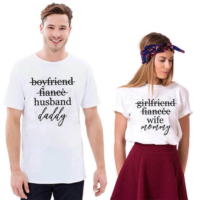 6f639b7b EnjoytheSpirit Couple Tshirt Pregnancy Announcement Shirts Girlfriend  Fiance Wife Mommy and Daddy Matching Top Tee Fashion