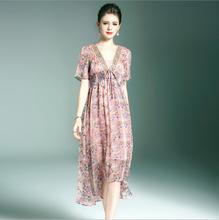 Новое летнее платье Для женщин течет длинный зеленый розовое платье одежда высокого качества Лидер продаж Бесплатная доставка h274gwo6