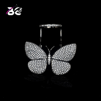 Be8 Brand New Design Can Fly Butterfly AAA Cubic Zirconia Engagement Rings For Women Black Gun