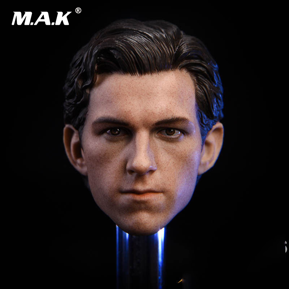 Tom Holland Spiderman Male Head Sculpt Carving 1/6 Scale Fit 12 Male Action Figures Body mak custom 1 6 scale hugh jackman head sculpt wolverine male headplay model fit 12kumik body figures