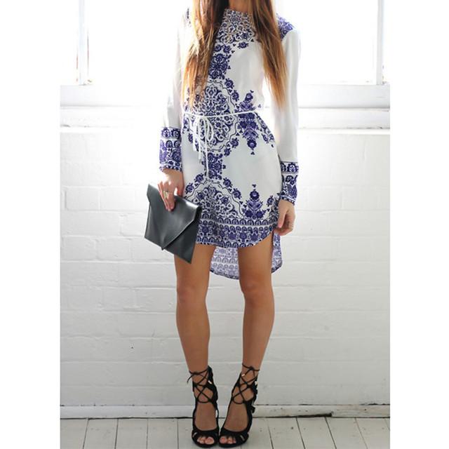 Summer Blue And White Porcelain Pattern Straight Dress Long Sleeve