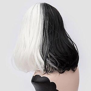 Image 2 - HAIRJOYสังเคราะห์ผมผู้หญิงสีดำสีขาวคู่ขนาดกลางวิกผมคอสเพลย์ตรง4 Colosม