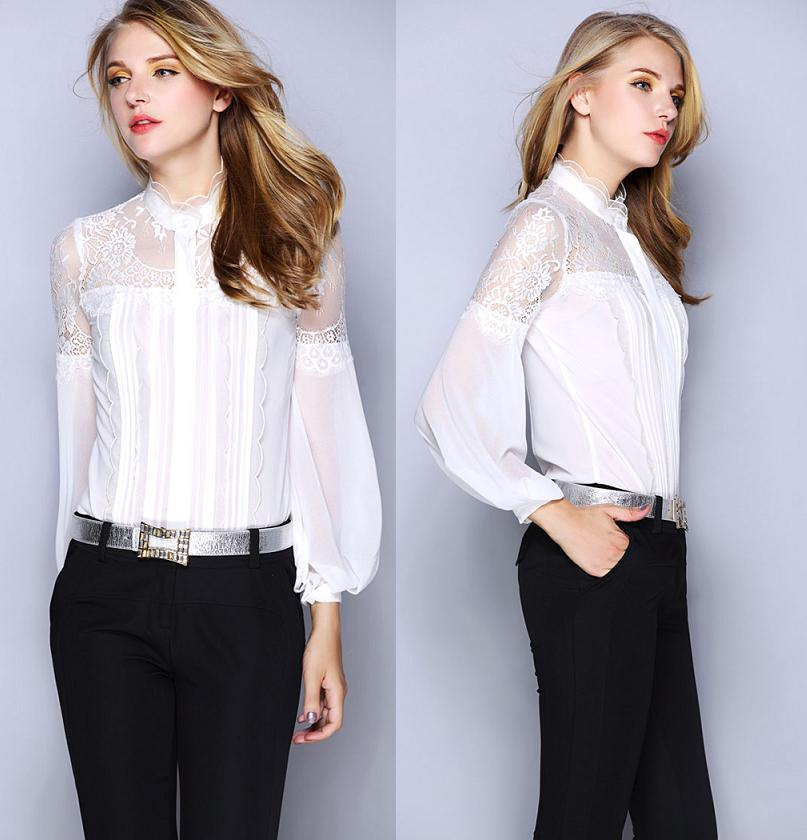 New Brand font b Blouses b font font b Women b font Shirt Sheer Lace Patchwork