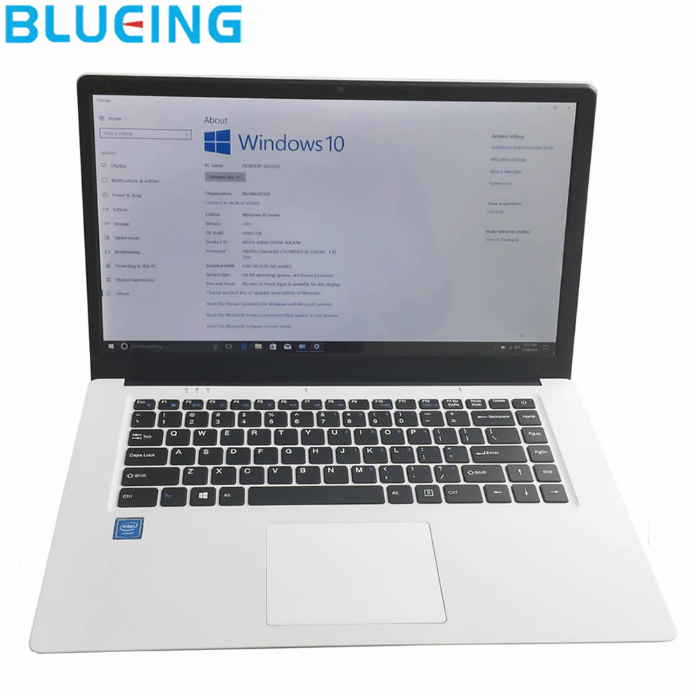 15.6 Inch Ultra-slim Laptop 6G 64G SSD Large Battery Windows 10 Camera WIFI Bluetooth Notebook Computer Netbook PC Free Shipping