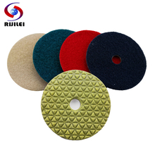 RIJILEI 7Pcs/lot 100mm dry polishing pad 4 inch Marble pads diamond Use for floor granite DPD01