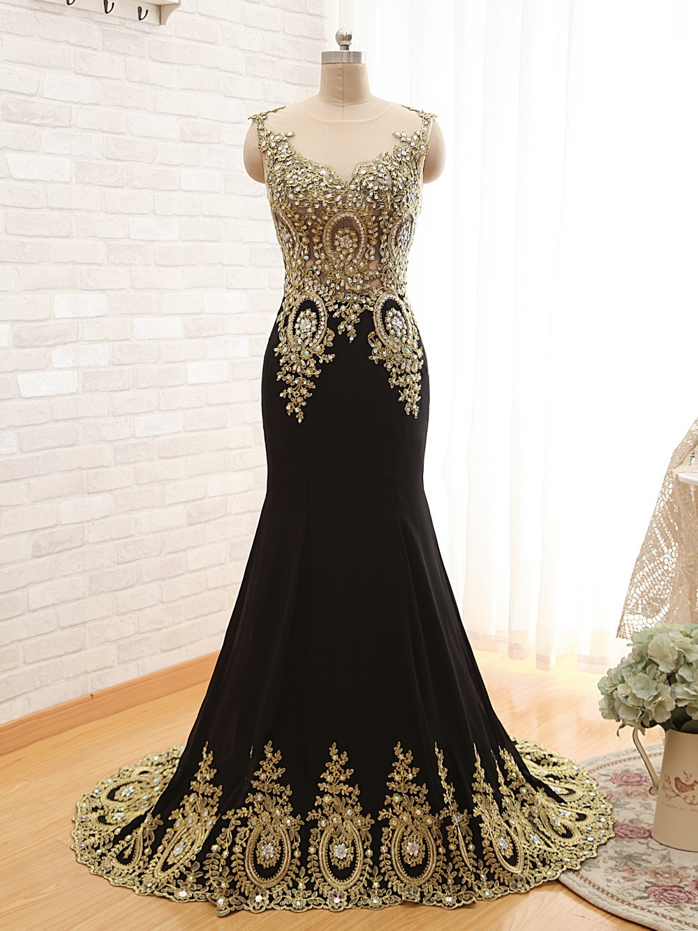 Gold black dresses prom