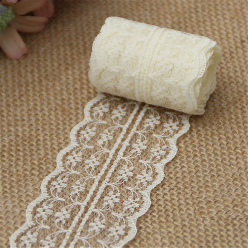 10m/lot 4.5cm Lace Ribbon Lace Trim Fabric Rustic Wedding Decoration Handcrafted Embroidered Sewing Clothes Dress DIY Material