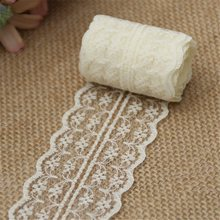 10m/lot 4.5cm Lace Ribbon Lace Trim Fabric Rustic Wedding Decoration Handcrafted Embroidered Sewing Clothes Dress DIY Material(China)