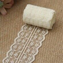 Cinta de adorno de encaje, 10 m/lote, 4,5 cm, decoración rústica para boda, bordado artesanal, ropa de costura, Material DIY