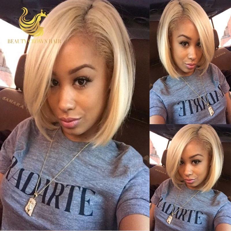 Honey Blonde Short Bob Full Lace Wig Human Hair Blonde Short Lace