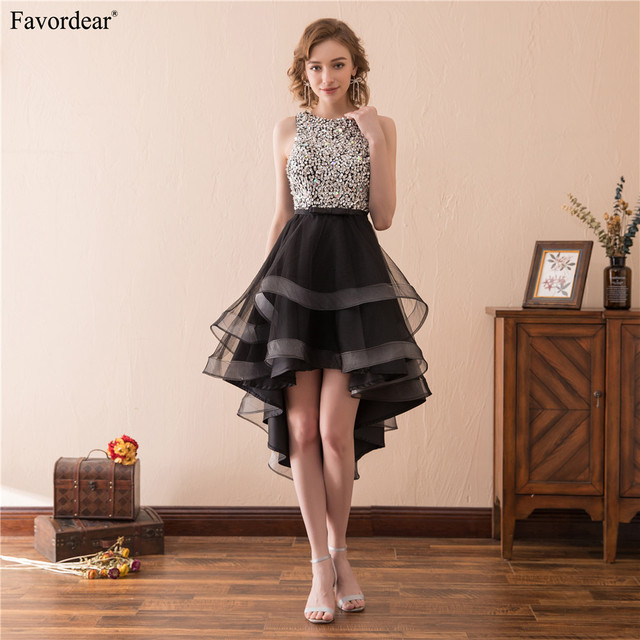Favordear 2018 New Fashion Black Beaded Hi-lo Ruffles Homecoming Dresses  With Back Key Hole Short Graduation Dresses ee1c84c6745f