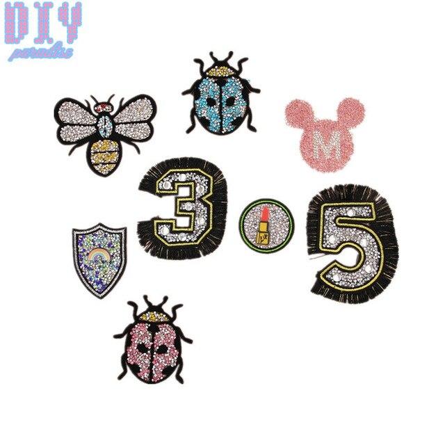 10 unids mariquita abeja Mickey números Diamantes con piedras falsas ...