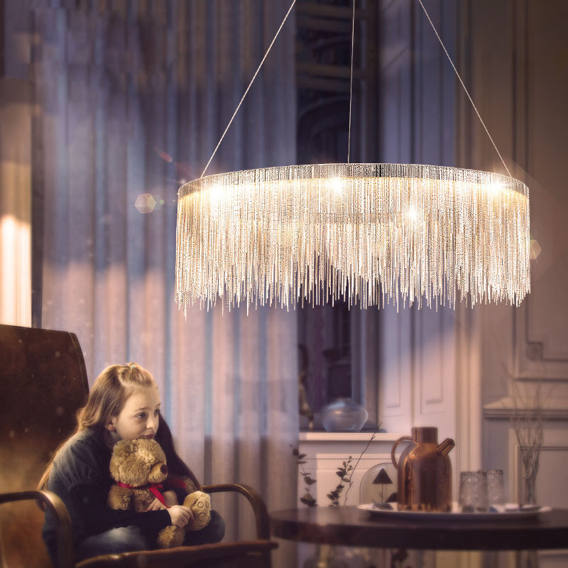 Hanging Pendant Light Living Room Contemporary Furniture Design Modern Tassel Led Lights Chrome Gold Metal Dining Lamp Fixtures Aliexpress Com Imall