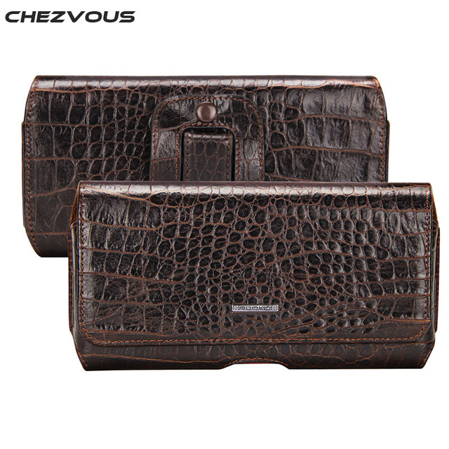 CHEZVOUS Crocodile Pattern Belt Clip Holster Leather Cases Pouch for One plus 5 3 Fashion Men's Waist Bag for 5.5'' Cell Phones