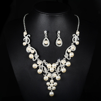 Bohemian Silver Plated Bridal Dubai Jewelry Sets Wedding Simulated Pearl CZ Diamond Vintage Earrings Aros Choker