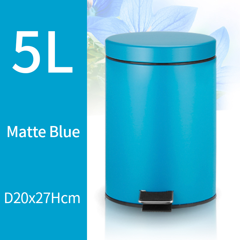 5L Trash Can Kitchen Living Room Office Garbage Dust Bin Bathroom Storage Rubbish Bucket Storage Box Pedal Waste Can Blue Color