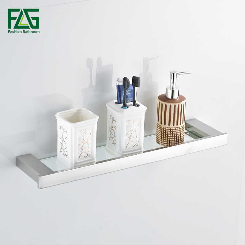 FLG Brushed Nickel Single Tier Bath Shelf With Glass 304 Stainless Steel Wall Mounted Bathroom Shelf Bathroom Rack Accessories