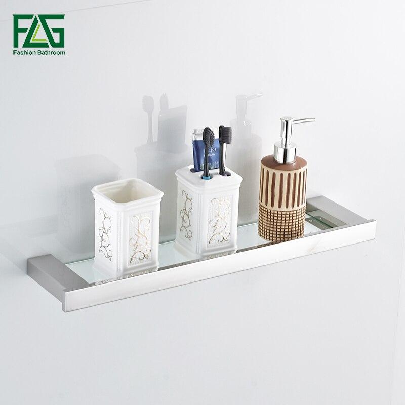 FLG Gebürstet Nickel Einreihigen Bad Regal Mit Glas 304 Edelstahl Wand Montiert Bad Regal Bad Rack Zubehör