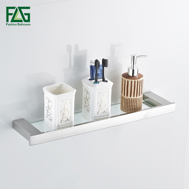 Flg Brushed Nickel Single Tier Bath Shelf With Glass 304 Stainless