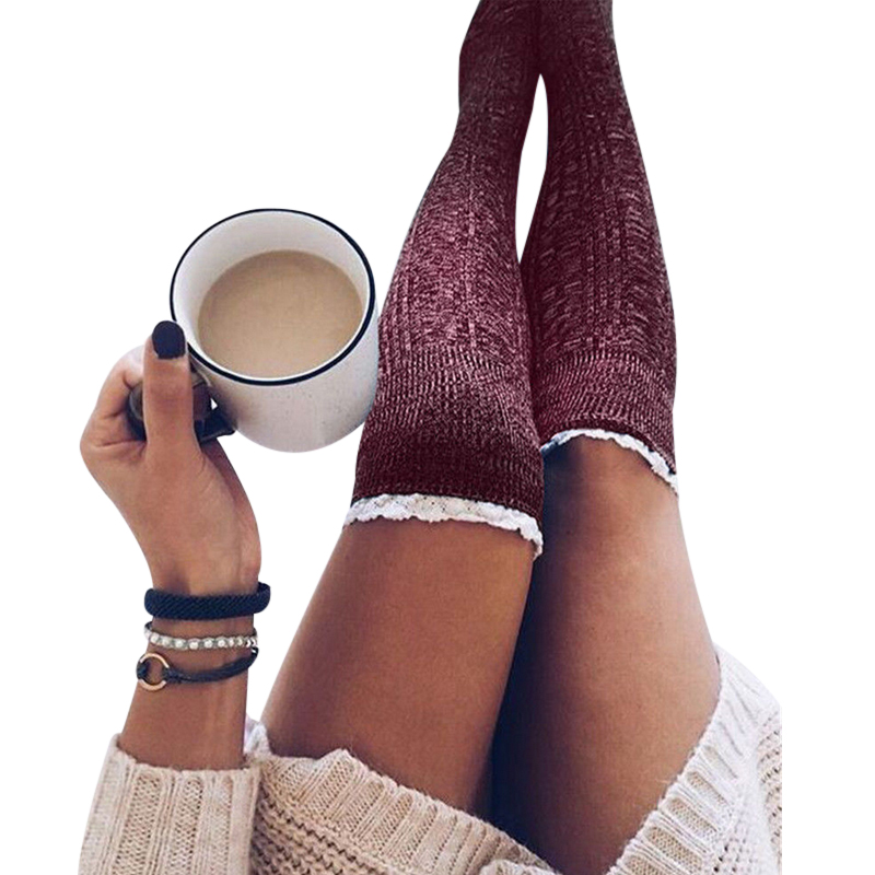 Women Stockings <font><b>Knit</b></font> <font><b>Thigh</b></font> <font><b>High</b></font> Lace Patchwork Long Stockings Knitted Girls Ladies Over the Knee Socks