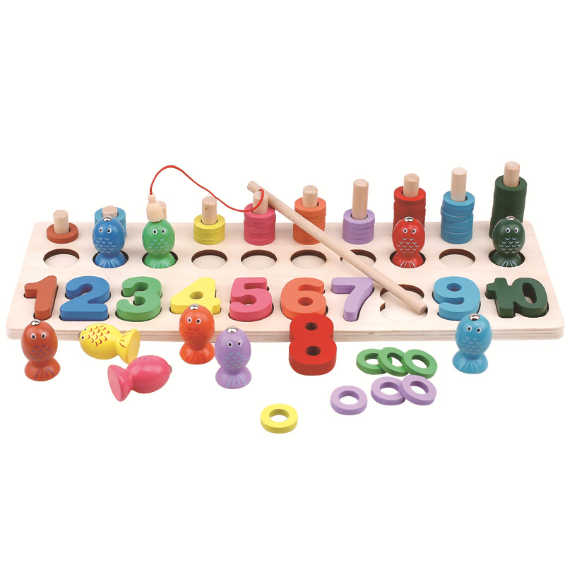 Wooden Montessori Materials Toys Learning Count Numbers Digital Shape Match Early Education Teaching Aids Fishing Game Math Toys