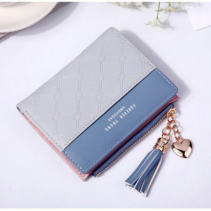 Leather Small Wallet Women Mini Women Wallets Purses Female Short Coin Zipper Purse Holder Tassel Zipper Button Bag (2)