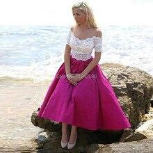 Elegant Vintage Arabic Tea Length Prom Dresses A Line Stain Custom Ballkleider Women Lace Evening Party Gowns vestidos de gala