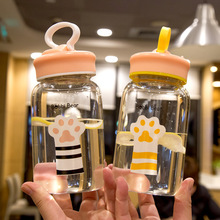 my water bottle cute cat claw transparent 450ml Glass Bottles Portable Cover Hand Bottle Ins Girl Heart Cold Water