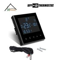 220 v 110 v eu 프로그래밍 가능한 터치 스크린 전기 난방 온도 컨트롤러 온도 조절기 wifi app 원격 제어