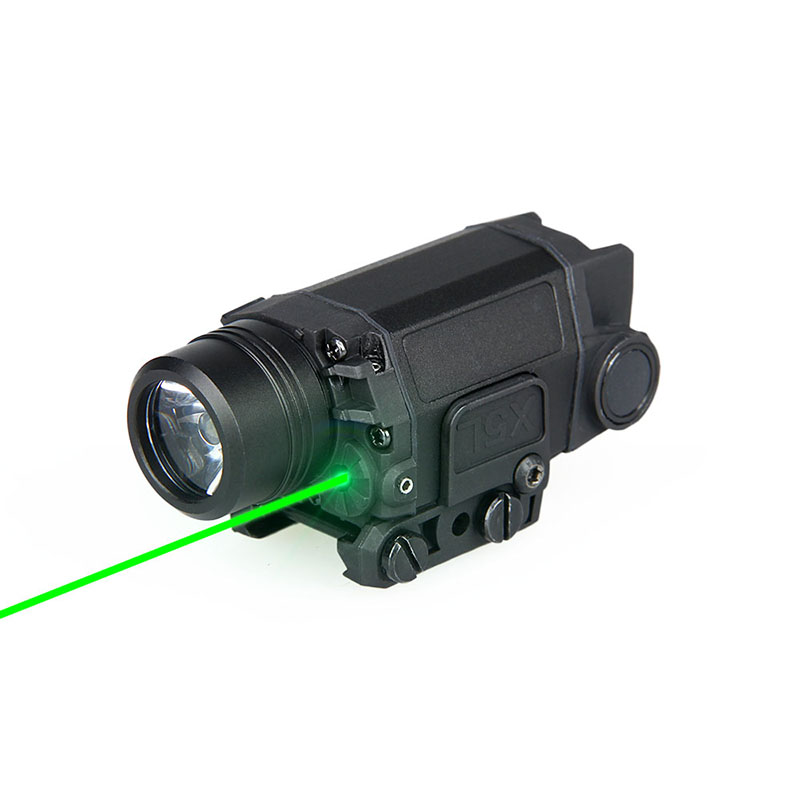 New Arrival Tactical LED Flashlight with Green Laser Black Color For Hunting Use gs15-0095