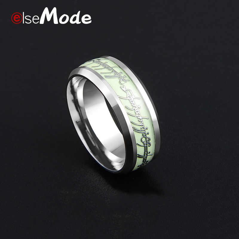 ELSEMODE จริงสแตนเลส Lord หนึ่งแหวนเรืองแสงเรืองแสง Lovers ผู้หญิงผู้ชายแฟชั่นเครื่องประดับ Drop Shipping