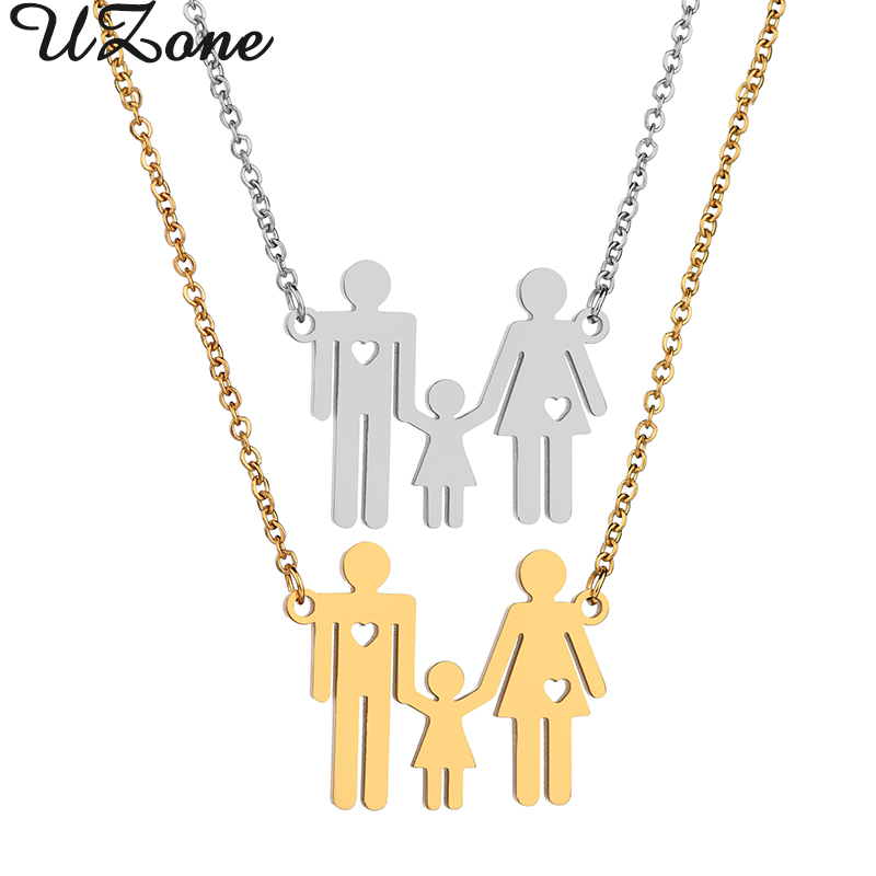 Uzone Mom Dad Girl Family Necklace Stainless Steel Love Heart Cartoon Parents Daughter Necklaces For Women Men Birthday Gifts