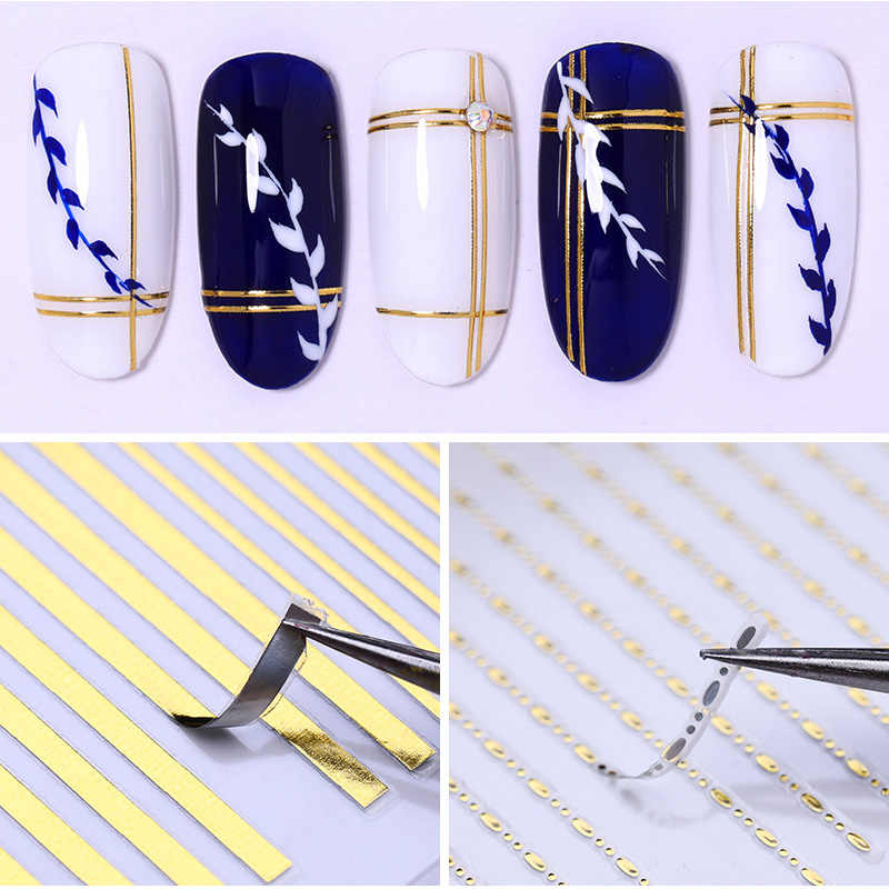 3D ongle autocollant courbe rayure lignes 1 feuille géométrique auto-adhésif autocollants décalcomanies Striping bande Nail Art décoration pointe