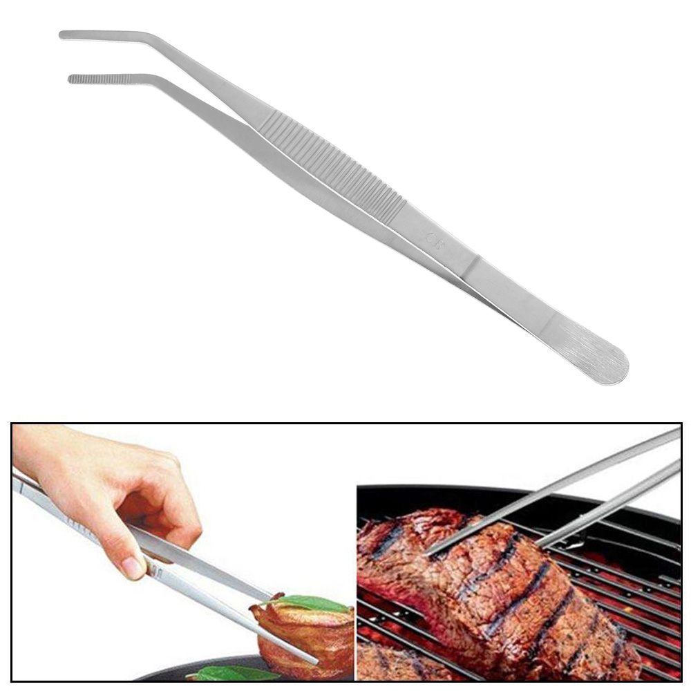Chef Serving Presentation Food Tweezer Stainless Steel  BBQ Clip Barbecue Tongs