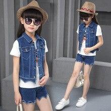 Новое лето 2016 корейских девочек и мальчиков ковбой моды костюм-тройку детей шорты набор девушек