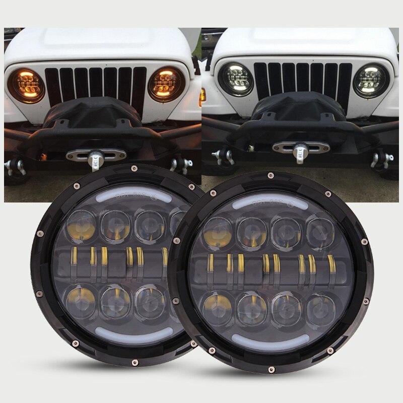 2PCS 7 inch 80W Round LED Headlights H4 Kit with Angel Eye DRL Amber Turn Signal