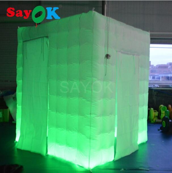 Tente gonflable de cabine de Photo gonflable de L78.7 * W78.7 * H90.5 Inch avec deux portes différentes de taille pour la partie de publicité de mariage