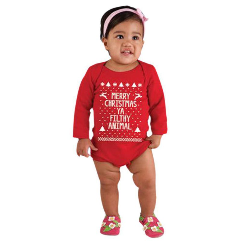 2017 2 PCS Newborn Christmas Outfits For Baby Girls Baby Boy Girl Baby Letter Long Sleeve Christmas Infant Romper Jumpsuit J2