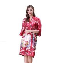 Шелковые кимоно халаты женский Атласный халат длинный Шелковый наряд для подружки невесты Longue убранство халат подружки невесты халат Vestido de novia